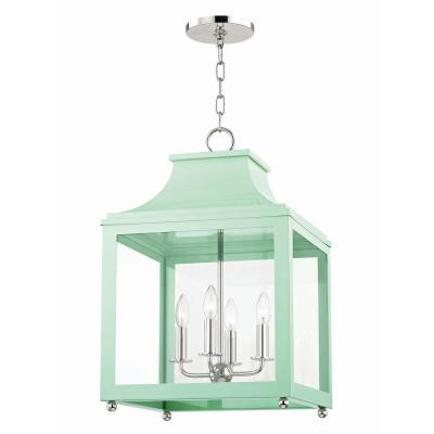 Leigh 4-Light 16 in. W Polished Nickel/Mint Pendant with Clear Glass Panel
