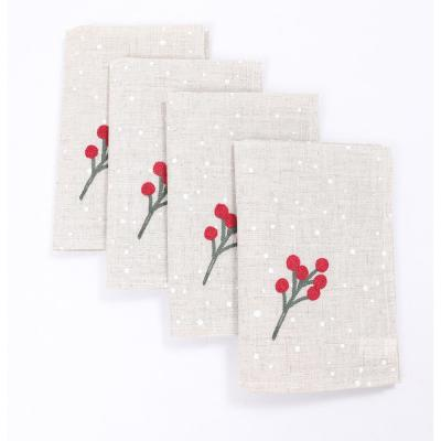 20 in. x 20 in. Holly Berry Branch Crewel Embroidered Christmas Napkins (Set of 4), Linen Blend