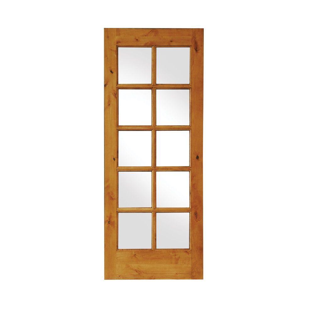 Krosswood Doors 24 in. x 80 in. Rustic Knotty Alder 10-Lite TDL Wood Stainable Interior Door Slab