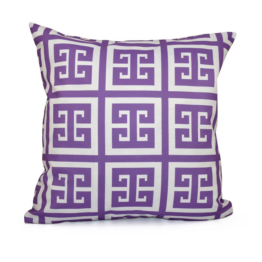 16 in. x 16 in. Greek Key Geometric in Purple Pillow