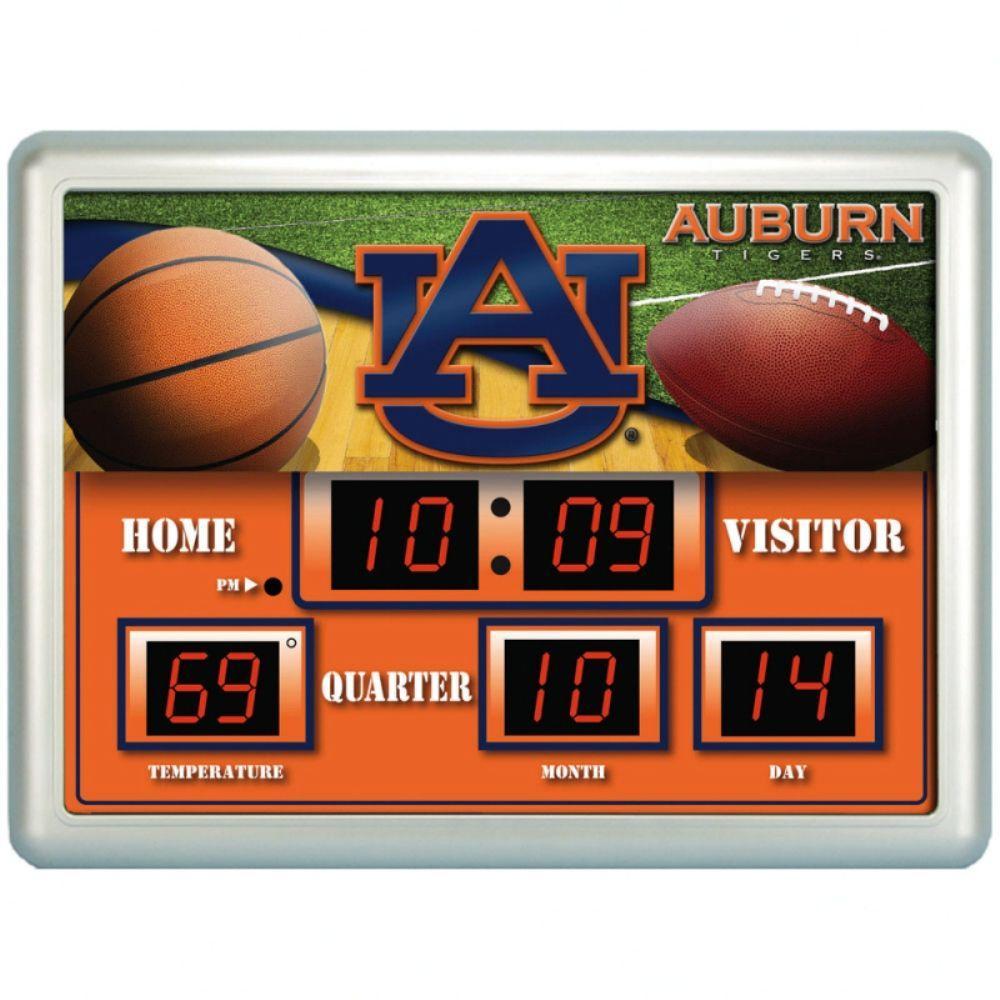 null Auburn University 14 in. x 19 in. Scoreboard Clock with Temperature