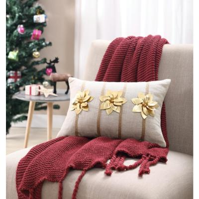 MHF Home Gold Poinsettia 12 in. x 18 in. Throw Pillow Cover