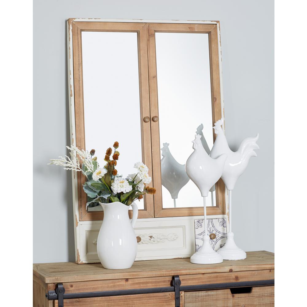 Rectangular White 2-Glass Dresser Mirror Panel