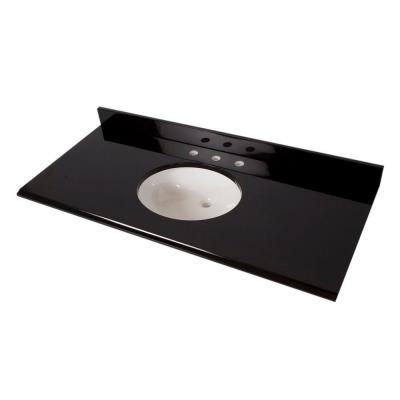 49 in. x 22 in. Colorpoint Vanity Top in Black with White Sink