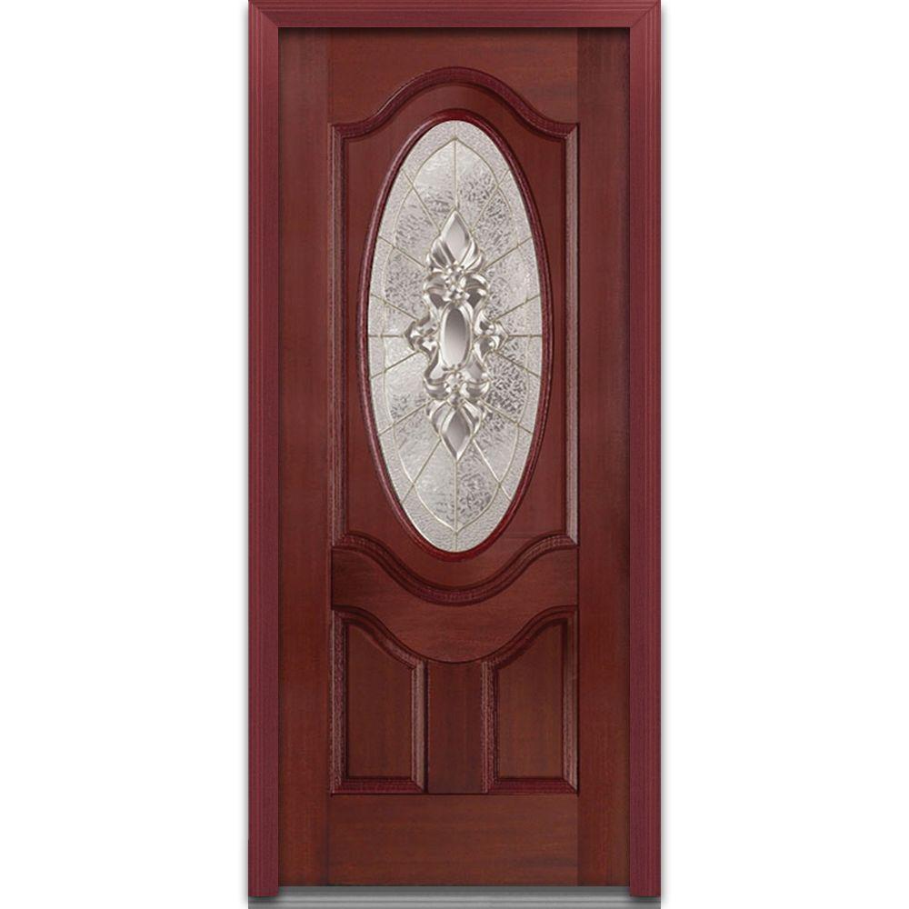 Milliken Millwork 36 in. x 80 in. Heirloom Master Decorative Glass 3/4 Oval Lite 2-Panel Finished Mahogany Fiberglass Prehung Front Door