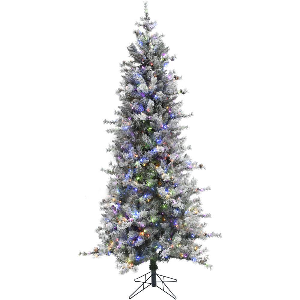 7.5 ft. Buffalo Fir Slim Artificial Christmas Tree with Multi-Color LED String Lighting
