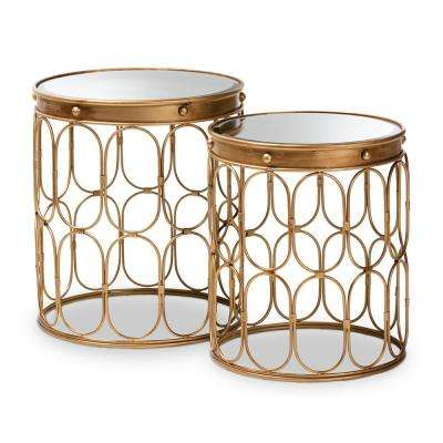Amina Antique Gold Stackable Accent Table Set (2-Piece)