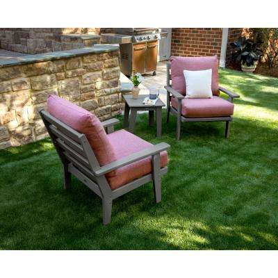 Grant Park Slate Grey 3-Piece Plastic Patio Deep Seating Set with Silver Garnet Cushions