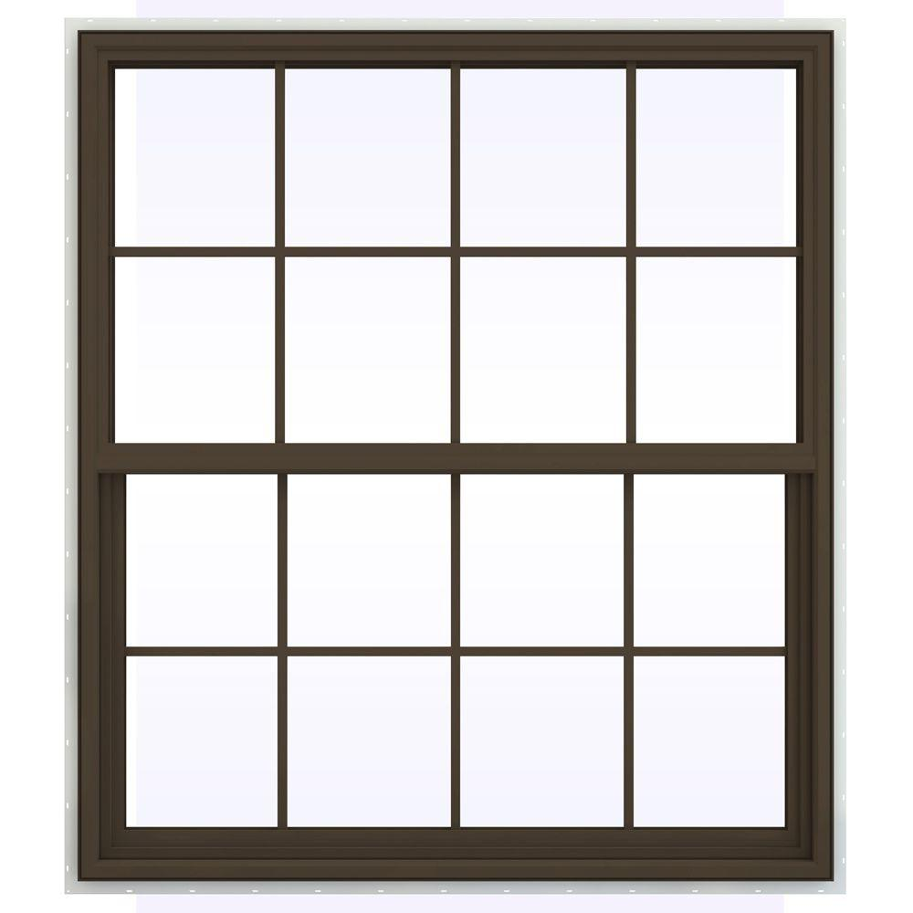 JELD-WEN 47.5 in. x 59.5 in. V-4500 Series Single Hung Vinyl Window with Grids - Brown