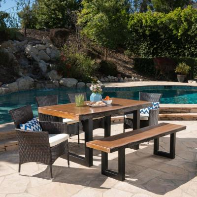 Lenny 30.25 in. Multi-Brown 6-Piece Metal Rectangular Outdoor Dining Set with Beige Cushions