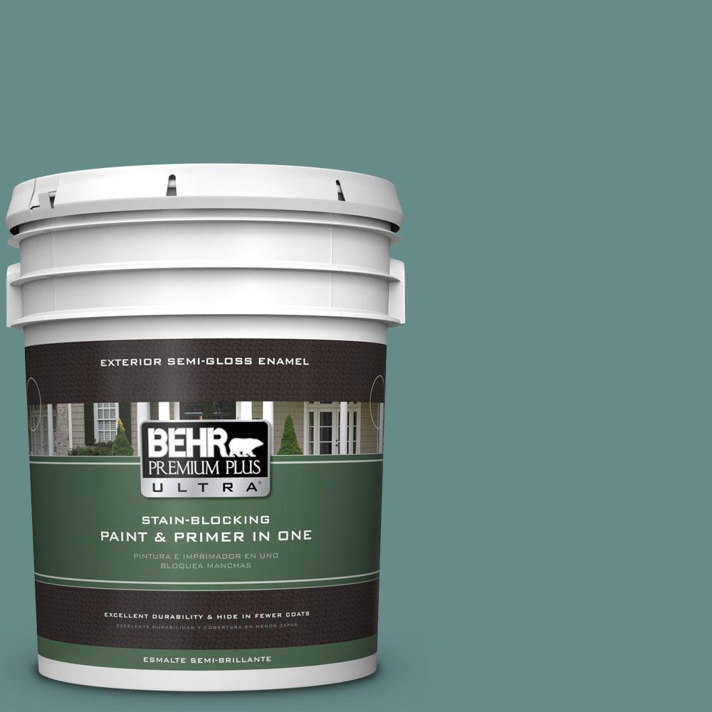 BEHR Premium Plus Ultra 5-gal. #ECC-60-3 Pool Tide Semi-Gloss Enamel Exterior Paint