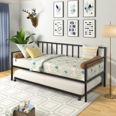 Black Twin Size Metal Daybed with Trundle