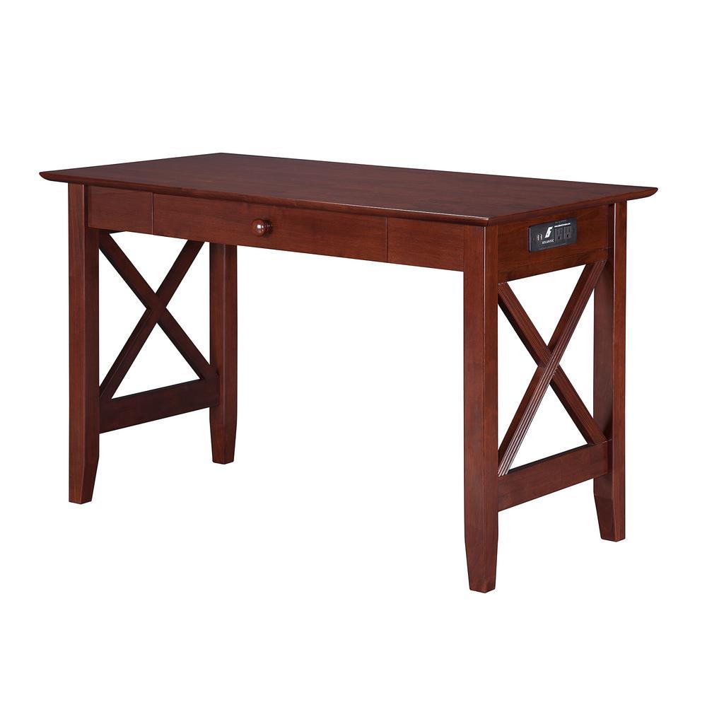 Marvelous Atlantic Furniture Lexi Walnut Desk With Drawer And Charging Spiritservingveterans Wood Chair Design Ideas Spiritservingveteransorg