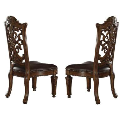 Traditional Brown Faux Leather Upholstered Wooden Side Chair with Scrolled Carvings (Set of 2)