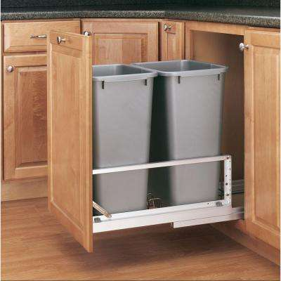 22.94 in. H x 14.81 in. W x 22.13 in. D Double 50 Qt. Pull-Out Brushed Aluminum and Silver Waste Container