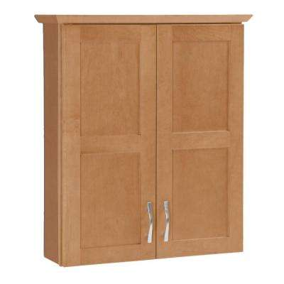 Casual 25-1/2 in. W x 29 in. H x 7-1/2 in. D Bathroom Storage Wall Cabinet in Harvest