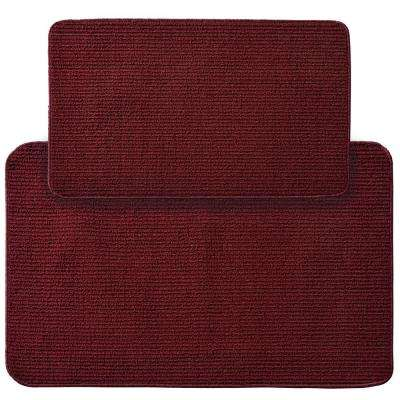 Berber Rib Burgundy 2 ft. x 3 ft. 4 in. 2-Piece Rug Set