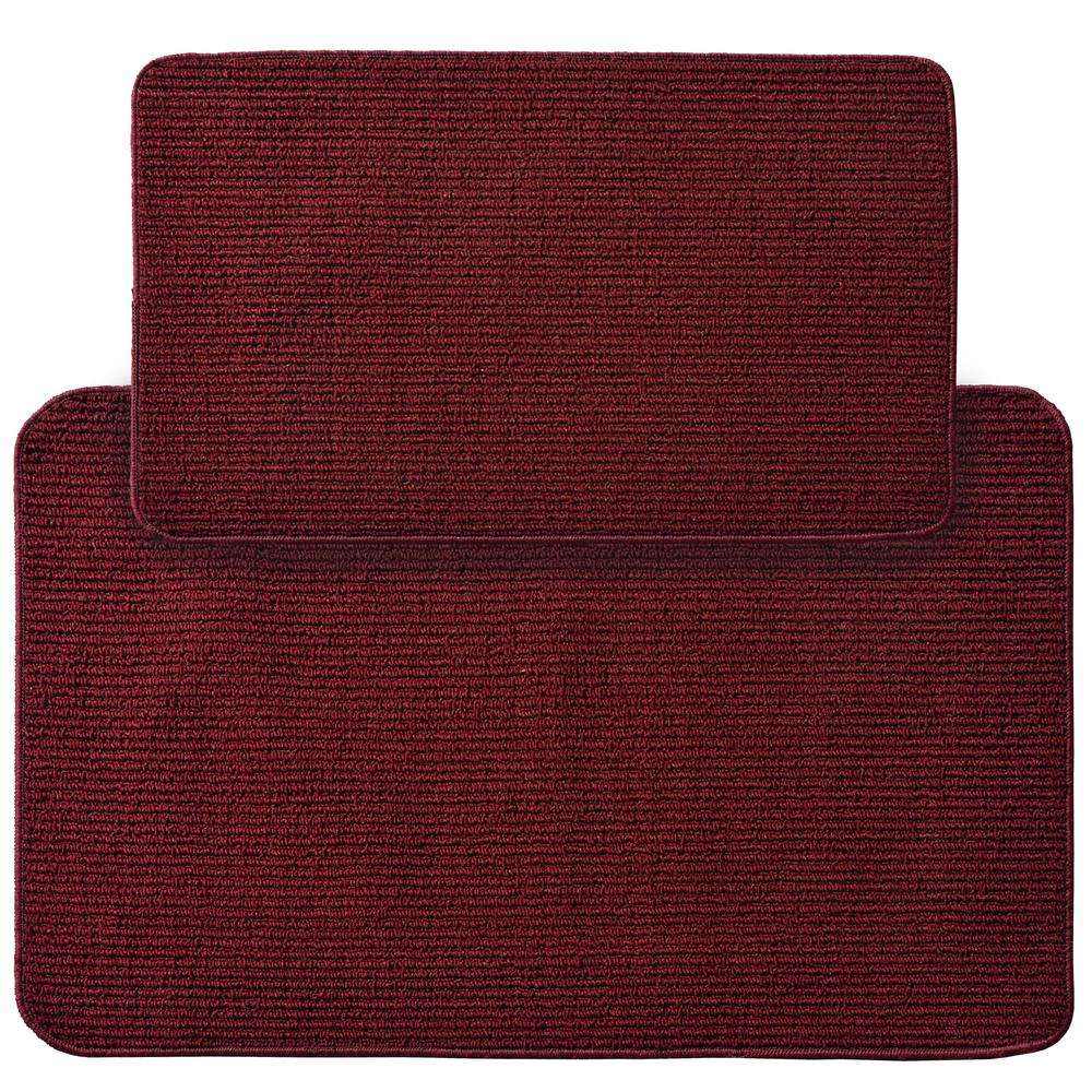 Garland Rug Berber Rib Burgundy 2 Ft X 3 Ft 4 In 2 Piece Rug Set Br000w2p0613 The Home Depot