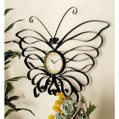 Black Tin Band Butterfly Frame Wall Clock