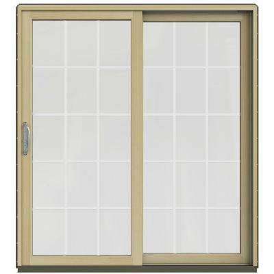 72 in. x 80 in. W-2500 Contemporary Brown Clad Wood Right-Hand 15 Lite Sliding Patio Door w/Unfinished Interior