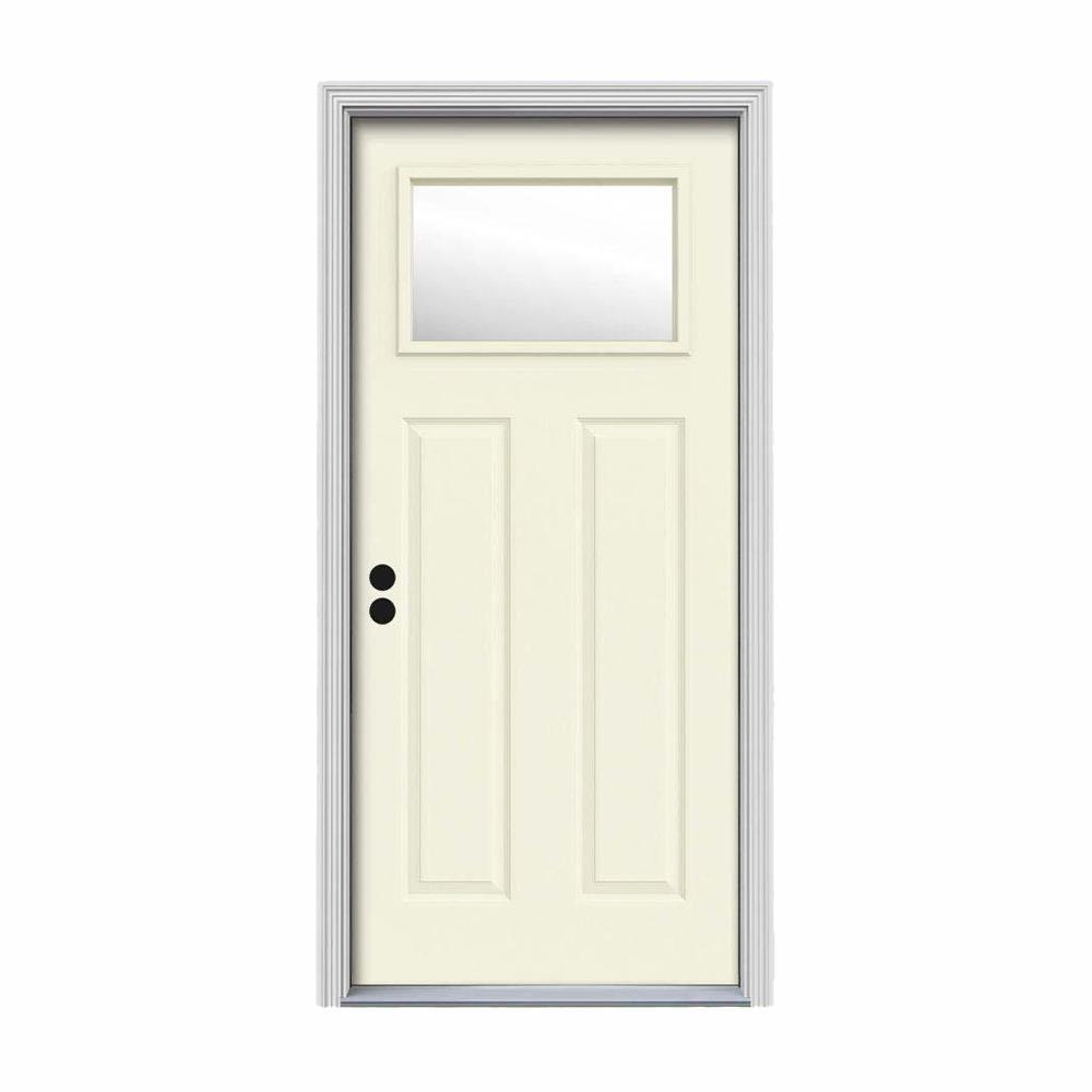 32 in. x 80 in. 1 Lite Craftsman Vanilla Painted Steel Prehung Right-Hand Inswing Front Door w/Brickmould
