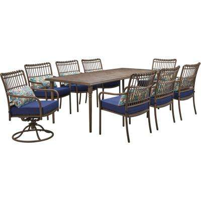 Summerland Faux-Wood 9-Piece Aluminum Outdoor Dining Set with Navy Cushions, 6 Chairs, 2 Swivel Rockers and Table