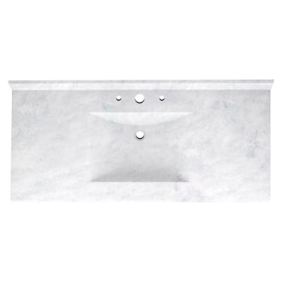 Contour 43 in. W x 22 in. D Solid Surface Vanity Top with Sink in Ice