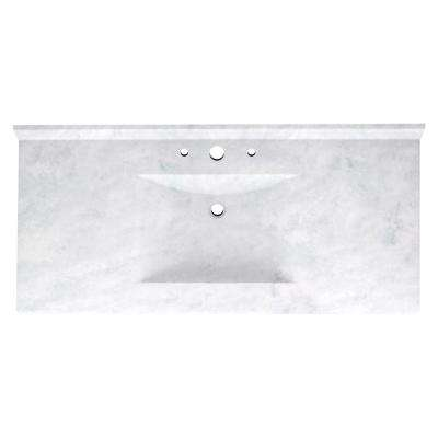 Contour 43 in. Solid Surface Vanity Top with Basin in Ice