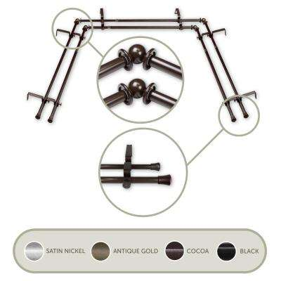 Bay Window 20 in. - 36 in., 38 in. - 72 in., 5/8 in. Dia Double Curtain Rod in Cocoa