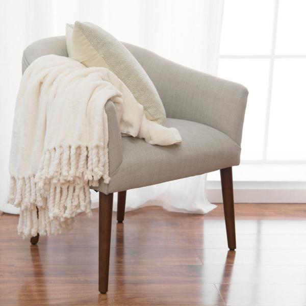 Ivory Off White Romantic Throw Blanket