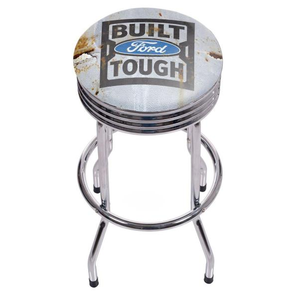 Built Tough 29 in. Chrome Swivel Cushioned Bar Stool