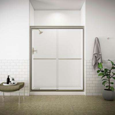 Fluence 59-5/8 in. x 70-5/16 in. Semi-Frameless Sliding Shower Door in Matte Nickel with Clear Glass