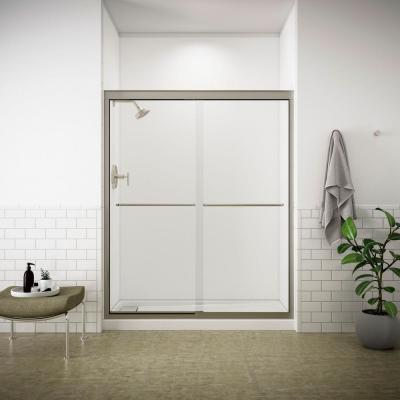 Fluence 59-5/8 in. x 70-5/16 in. Semi-Frameless Sliding Shower Door in Brushed Nickel with Handle