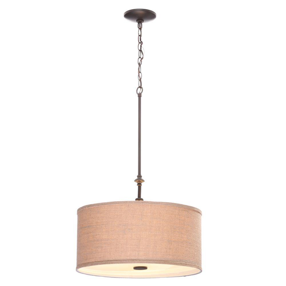 Hampton Bay Quincy 3-Light Oil-Rubbed Bronze Drum Pendant with Burlap Fabric Shade