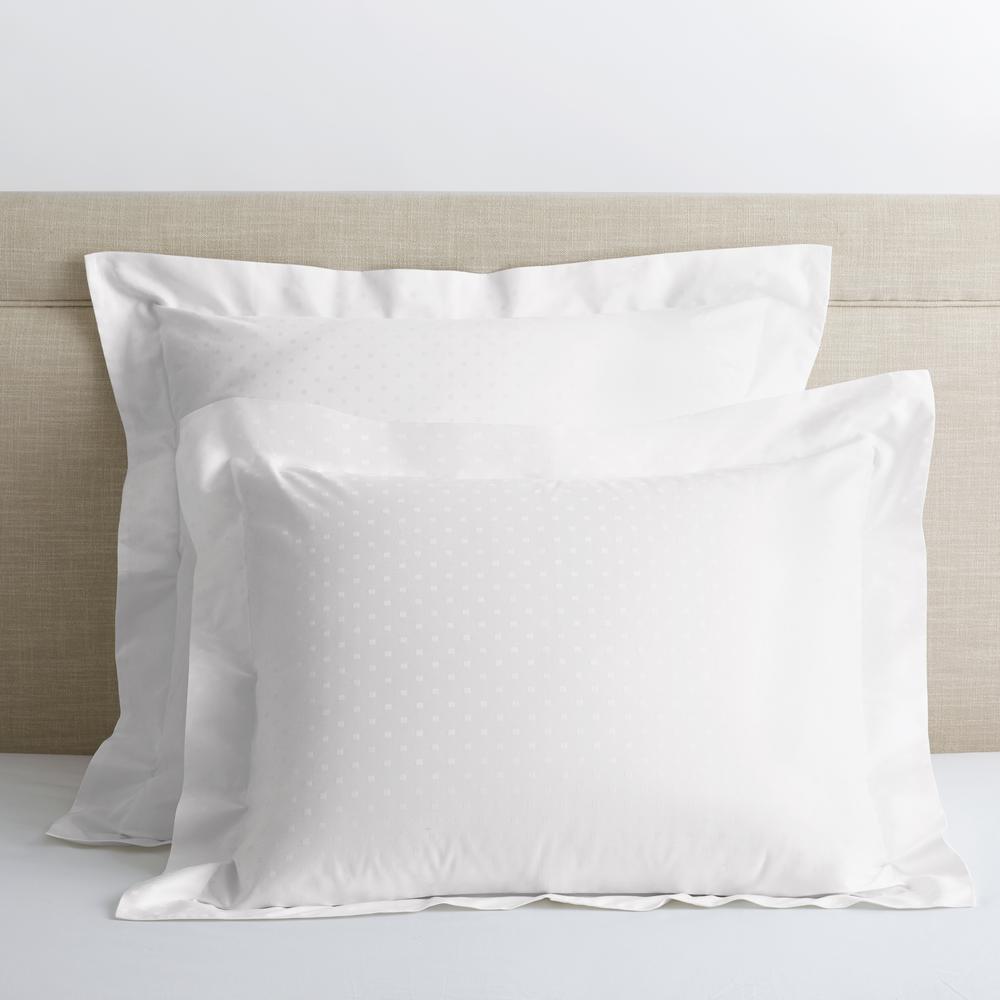 Legends Luxury Dot White 500 Thread Count Cotton Sateen Euro Sham
