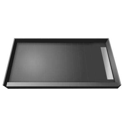 42 in. x 72 in. Single Threshold Shower Base in Grey with Right Drain and Tileable Trench Grate