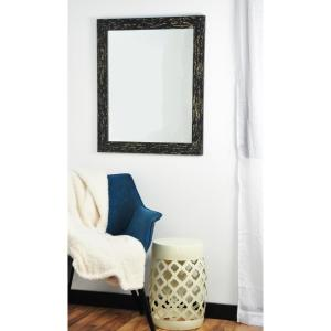 Rectangle Black with Tan Accents Decorative Wall Mirror by