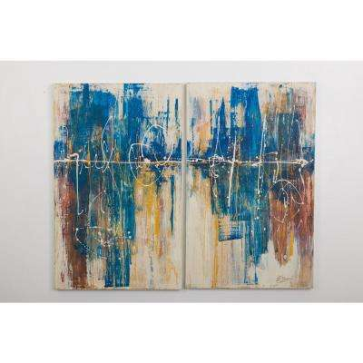 """48 in. x 30 in. """"Pulse I"""" by """"Ashleigh Fleenor"""" Hand Painted Framed Canvas Wall Art"""