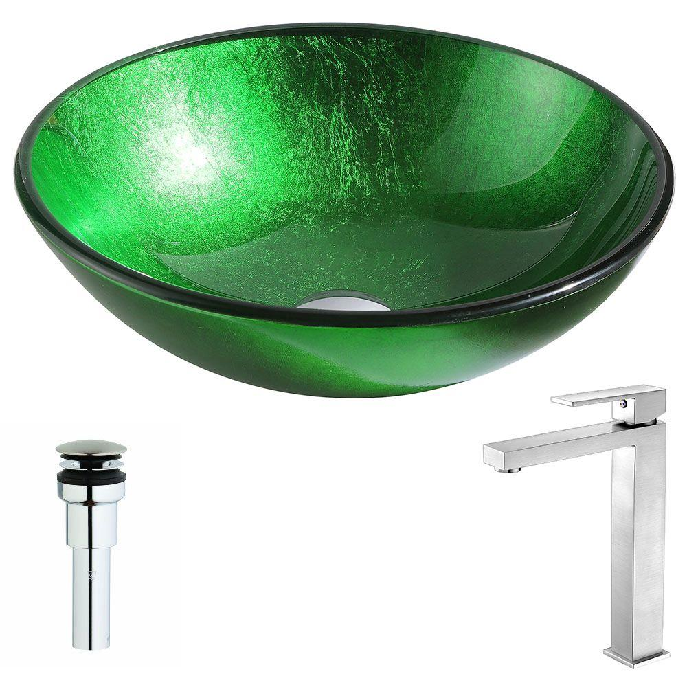 ANZZI Melody Series Deco-Glass Vessel Sink in Lustrous Green with Enti Faucet in Brushed Nickel was $331.99 now $265.59 (20.0% off)