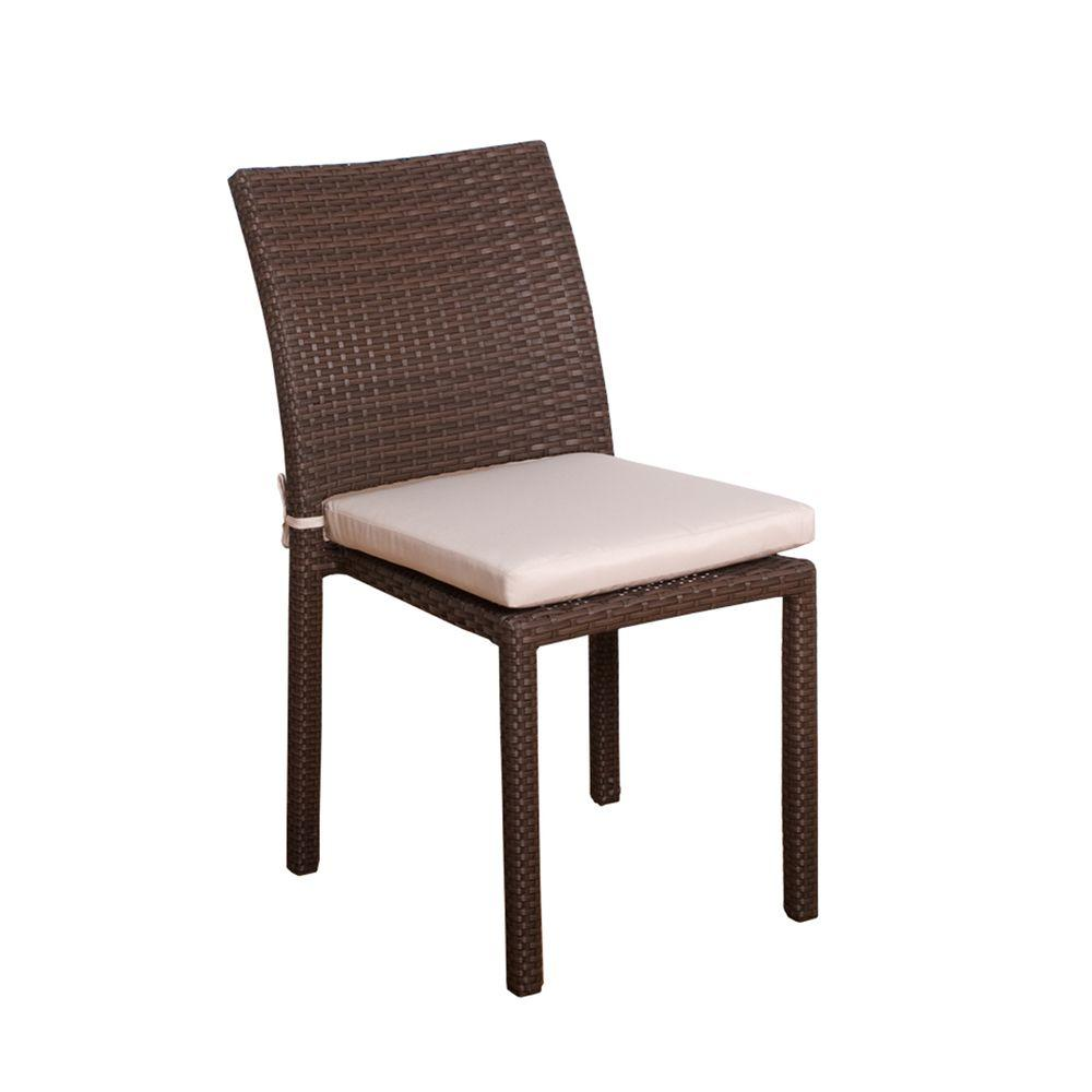 Atlantic Contemporary Lifestyle Liberty Grey Patio Dining Chair with Off-White Cushion (4-Pack)