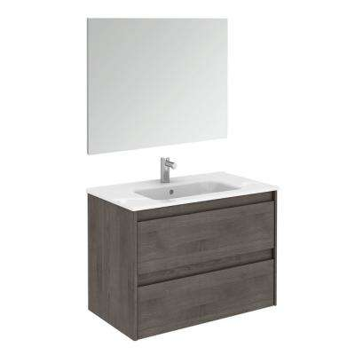 31.6 in. W x 18.1 in. D x 22.3 in. H Complete Bathroom Vanity Unit in Samara Ash with Mirror