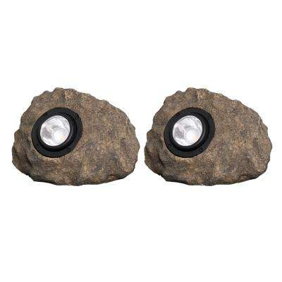 Solar Gray Outdoor Integrated LED Landscape Path Light (2-Pack)