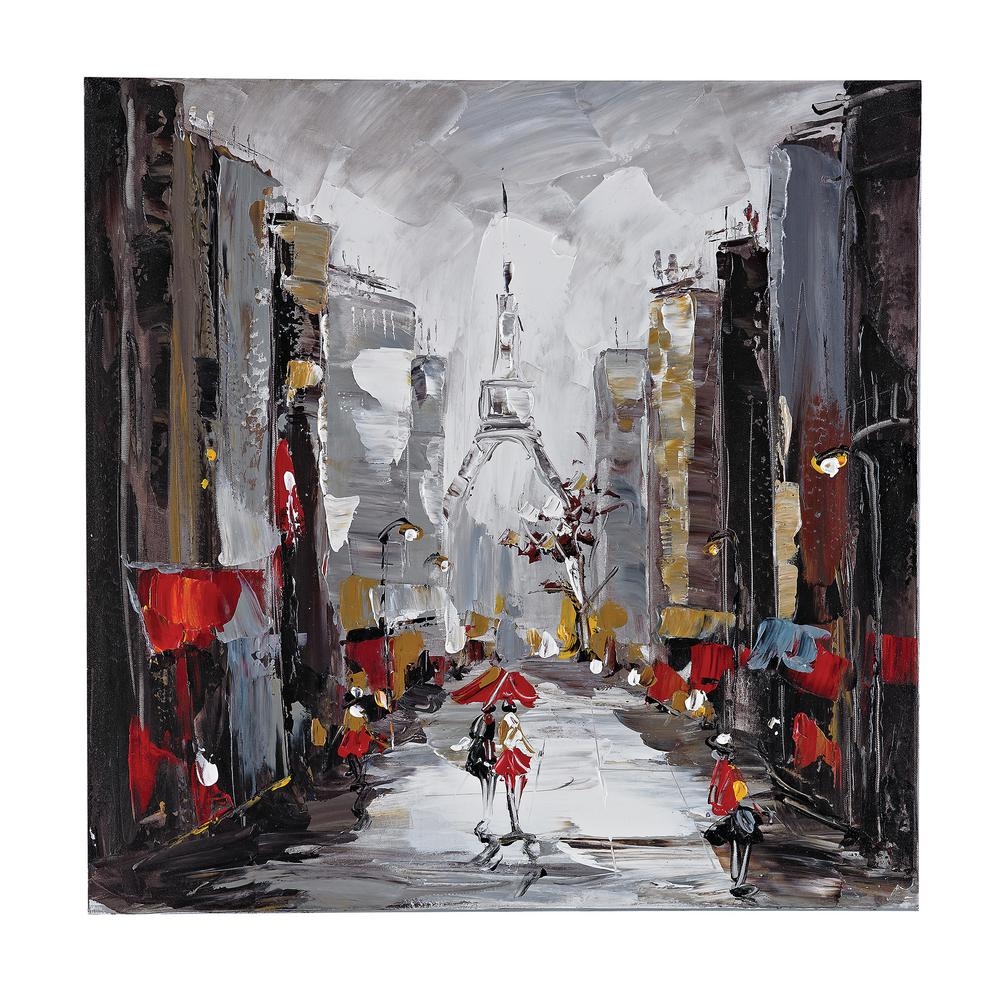"24 in. x 24 in. ""Paris Scene"" Hand Painted Canvas Wall"