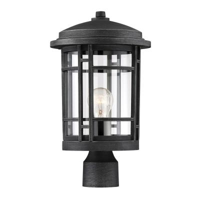 Barrister 1-Light Weathered Pewter Outdoor Post Lantern with Clear Glass Shade