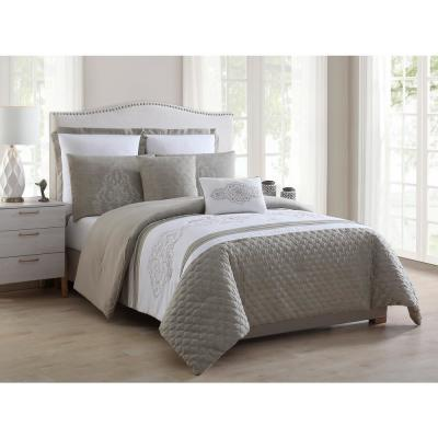 Ezra 7-Piece Taupe Full/Queen Quilted and Embroidered Comforter Set