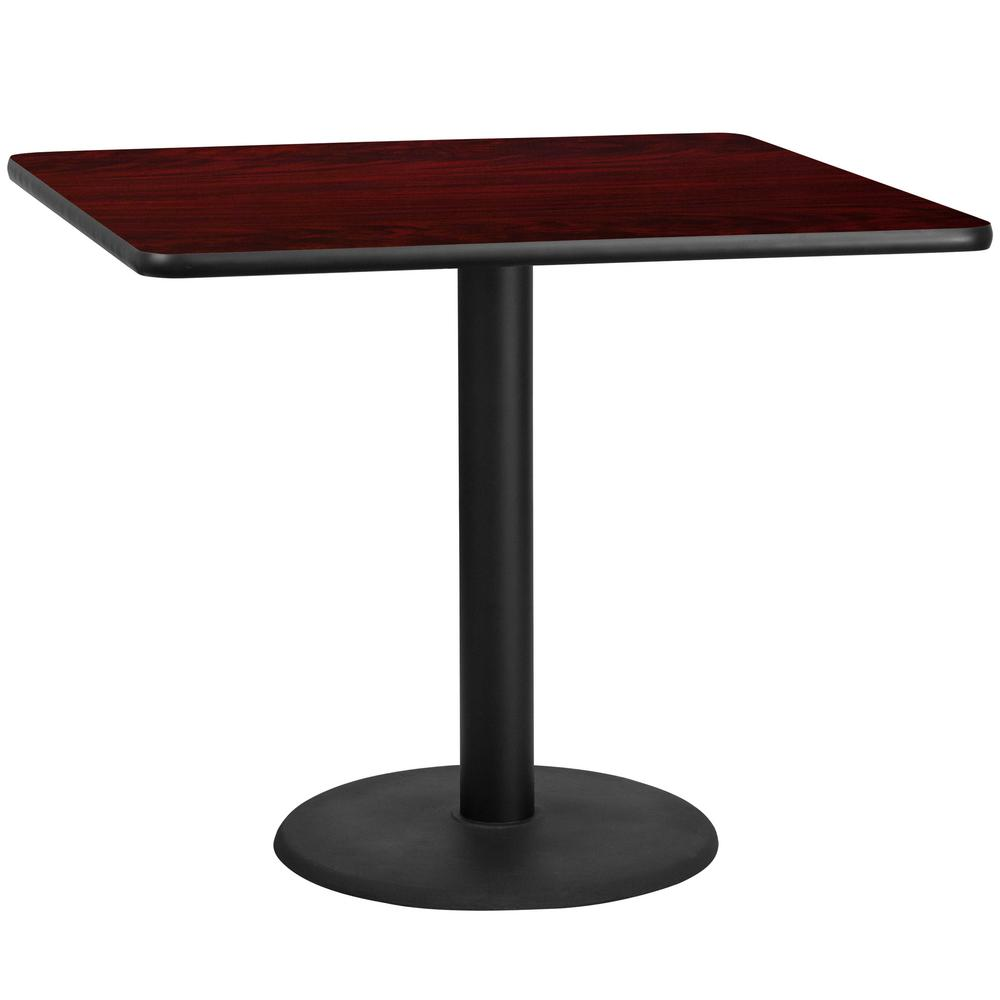 Bon Square Black And Mahogany Laminate Table Top With 24 In.