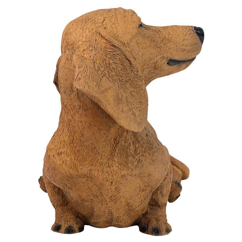 Life Like Figurine Statue Home Sitting Dachshund Brown Puppy Dog Garden NEW