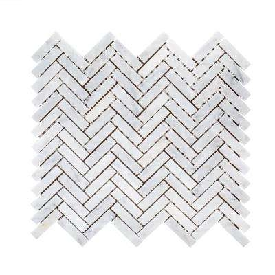 Jet Stream White Herringbone 10 in. x 11 in. x 8 mm Honed Marble Stone Mosaic Wall/Floor Tile