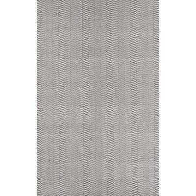 Herringbone Cotton Grey 8 ft. x 10 ft. Area Rug