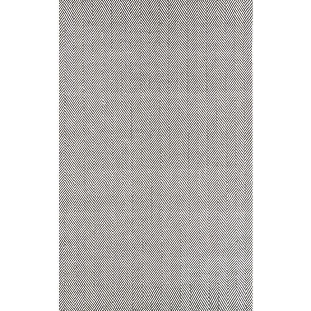 Herringbone Cotton Grey 9 ft. x 12 ft. Area Rug